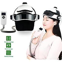 REAQER Masajeador eléctrico de la cabeza de la vibración neumática inteligente con sendación de presión como dedos masaje de relajación con música relajante (USB Interface)