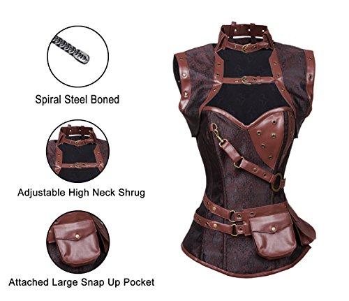 Charmian Women's Steampunk Spiral Steel Boned Vintage Retro Corset Tops Bustier Heavy-Strong-Steel-Buckles-Braun