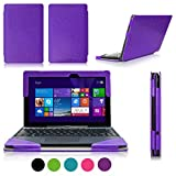 [Corner Protection] ASUS Transformer Book T100 Case Cover, Fyy® Fully Armed Leather Case for ASUS Transformer Book T100 Purple