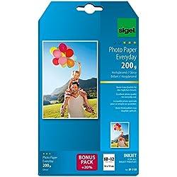 SIGEL IP719 Papier photo Everyday jet d'encre, ultra brillant, format 10 x 15 cm, 200 g/m², 60 feuilles + 12 gratuites