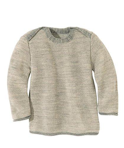 Pullover in lana merino Disana Melange Baby Grau/Natur