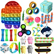 Fidget Toys Set,26 Pcs Simple Dimple Fidgets Toy for Kids Adults Stress Relief and Adult Anxiety Relief ADHD A