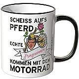 Motoking Tasse, Spruch: Scheiß aufs Pferd echte Prinzessinnen … - SCHWARZ