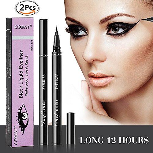 Eyeliner, 2 Stück Eyeliner Stift , Eyeliner Pen, Ultra-präziser Flüssiger Eyeliner, Wasserdichte Schwarz Augen Liner ,waterproof Glatte Eyeliner gel Lidstrich