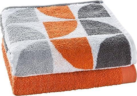 Erwin Müller 2-pc bath towel set jacquard orange size 70x140 cm