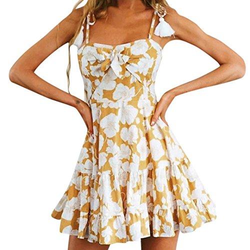 Oyedens Damen Halfter Kurz Kleid, Frauen Leinen Drucken Minikleid Quaste Kleid Bowknot Harness Kleider Kurze Partykleid V-Ausschnitt Sommerkleid Strandkleid Blusenkleid Elegant Spitze Abendkleid (XL, Gelb)