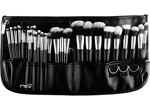 MSQ Lot de 29 pinceaux de maquillage avec poils synthétiques - Pinceau pour fond de teint, pinceau pour poudre, pinceau pour les yeux - Argent et Noir