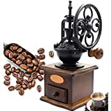 NBWS - Manuelle Gusseisen Kaffeemühle Antik,Handkurbel,Grind, Einstellungen Catch Schublade(13 x 13 x 27 cm)