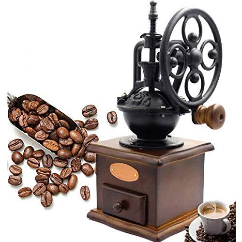 NBWS - Manuelle Gusseisen Kaffeemühle Antik,Handkurbel,Grind, Einstellungen Catch Schublade(13 x 13 x 27 cm) (Antike Manuelle Kaffeemühle)