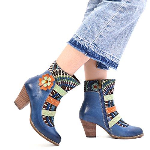 gracosy Damen Stiefeletten Bunt, Schuhe Damen Herbst Leder Stiefel Bedruckt Retro Handgemachtes Reißverschluss Schuhe High-Top Block Ferse Rutschfest Bequeme Arbeitsschuhe Stiefeletten mit Absatz