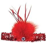 Femmes 1920s À Paillettes Charleston Plume Bandeau Serre-tête Costume Déguisement Accessoire - Rouge