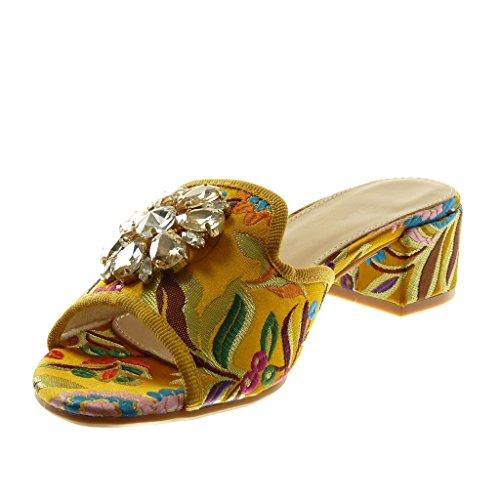 Angkorly Scarpe Moda Sandali Mules Slip-On Donna Strass Gioielli Ricamo Tacco a Blocco Alto 4 cm Ingiallimento