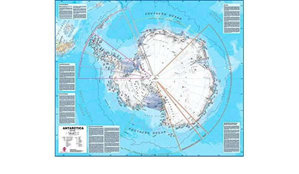 Antarctica Wall Map Political Laminated Map With Roller Blind