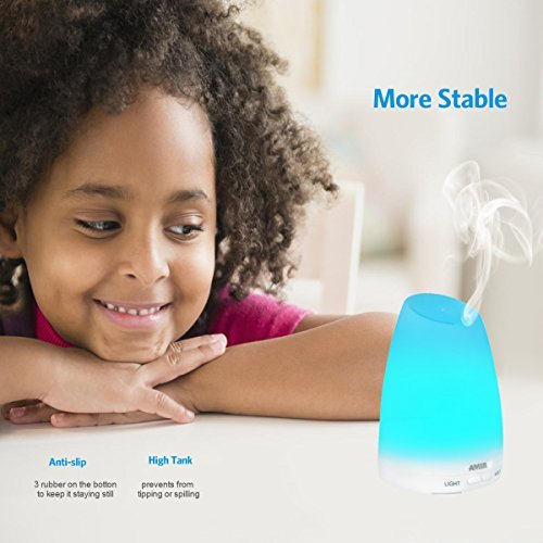 51H7cuKPnsL. SS500  - Criacr 150ml Essential Oil Diffusers, Aromatherapy Diffusers with 7 Colorful LED Lights, Adjustable Mist Mode, BPA-Free…