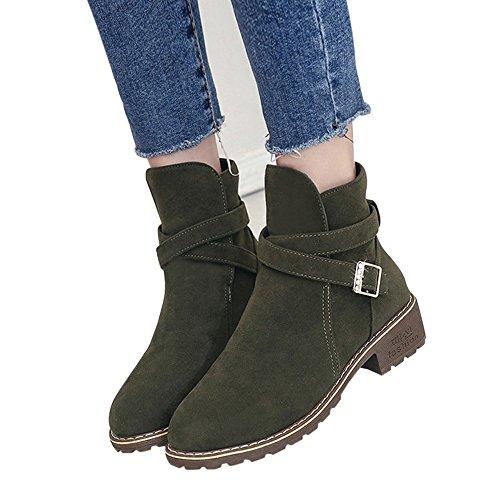 OSYARD Chelsea Boots Stiefeletten Damen Wildleder Schwarz Gummistiefel, Mode Frauen Schnalle Faux Warme Stiefel Ankle Boots Mitte Heels Martin Schuhe Freizeit Flandell (245/40, Armeegrün)