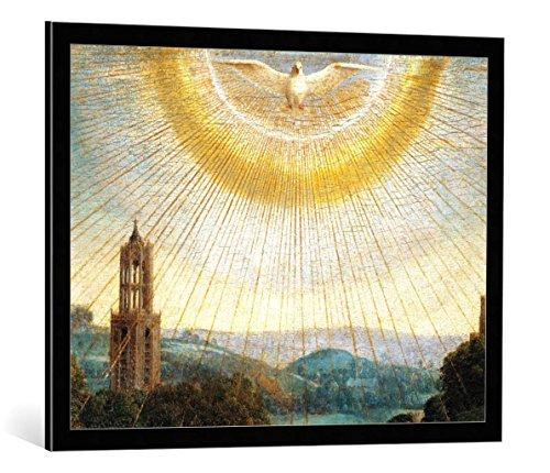 kunst für alle Bild mit Bilder-Rahmen: Hubert & Jan Van Eyck Genter Altar Heiliger Geist - dekorativer Kunstdruck, hochwertig gerahmt, 85x65 cm, Schwarz/Kante grau -