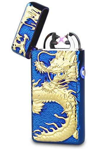Double Arc Faisceau USB Briquet batterie sans flamme coupe-vent Briquet électronique avec boîte cadeau, Led Blue-gold Dragon