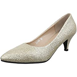 Damen Schuhe, 56080, PUMPS, GLITTER, Synthetik , Gold, Gr 38
