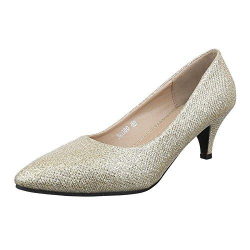 Ital-Design Damen Schuhe, 56080, Pumps, Glitter, Synthetik, Gold, Gr 36