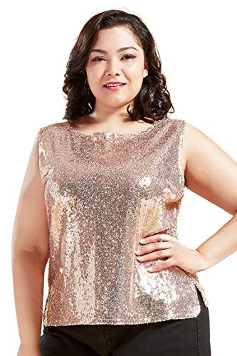Coucoland Damen Pailletten Top Plus Size Ärmellos Glitter Oberteile Club Weste Shirt Cocktail Party Tank Top Große Größen Damen Halloween Karneval Fasching Kostüm (Rose Gold, XL)