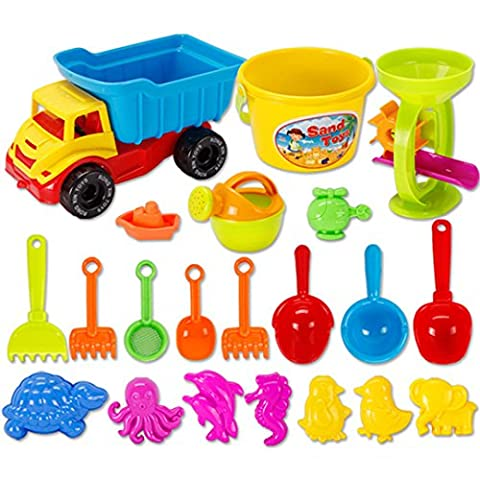 26 Pcs Beach Toys Set Sand Castle Bucket Seaside Toys Playset Summer Outdoors Playing Beach Toys Set for Kids and