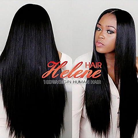 Helene Hair Nueva moda Natural Derecho Peluca Brasileño Virgen Cabello Humano Cabello frente del cordón Pelucas con el pelo del bebé para Mujer 180% Densidad ( 24 Pulgada
