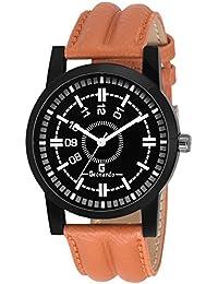 Geonardo Brace Black Dial Brown Strap Analog Watch For Boys- GDM045