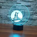 Nuit Lumière Illusions Optiques 3D LED Lampe Pont de la Saint-Valentin de 7 Couleurs Tactile Chevet Chambre Table Art Déco Enfant avec Cable USB pour Fille Fils Cadeau Anniversaire Surprise Deco