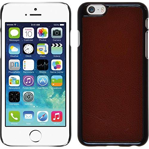 PhoneNatic Case für Apple iPhone 6s / 6 Hülle rosa Lederoptik Hard-case für iPhone 6s / 6 + 2 Schutzfolien Braun