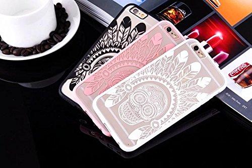 iPhone Case Cover Indian Totem Crâne Imprimé Conception de protection PC Hard Back Case Cover + TPU Bumper pour iPhone SE 5S 6 6S plus ( Color : Black , Size : IPhone 6S Plus ) White