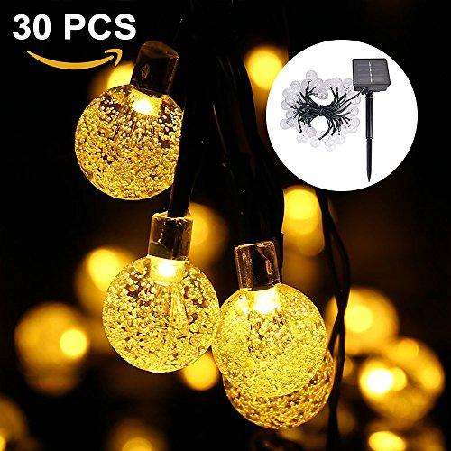 0LED Garten Lichterkette LED Wasserdicht Solarbetrieben Lichterkette Party Lichterkette Weihnachtsbeleuchtung Deko für Garten, Bäume, Partys, Outdoor-6.5M,Warmweiß (Warmweiß) ()