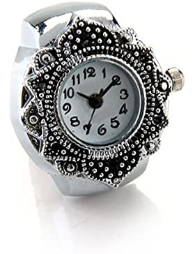 SODIAL(R) Tibetsilber 22mm Ringuhr Finger Uhr Fingeruhr Uhrenring TOP