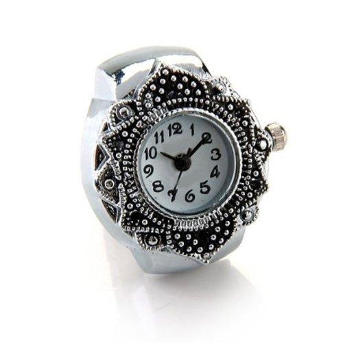 Gleader Tibetsilber 22mm Ringuhr Finger Uhr Fingeruhr Uhrenring TOP