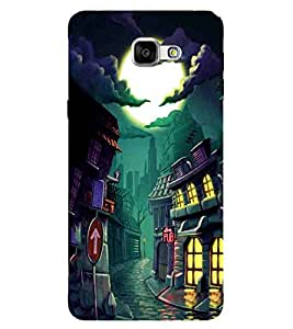 For Samsung Galaxy A9 (2016) :: Samsung Galaxy A9 Pro (2016) halloween home, home, building, moon, cloud Designer Printed High Quality Smooth Matte Protective Mobile Case Back Pouch Cover by APEX