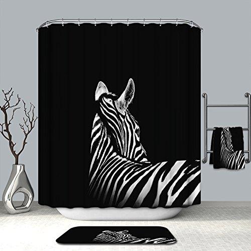 Zebra-print-thema (Animal World Thema Muster Vorhänge Dusche Badezimmer Vorhang 182,9x 182,9cm Wasserdicht moldproof Wasserdicht Duschvorhang, Polyester-Badezimmer Home Dekoration, 180* 180CM, 100 % Polyester, Zebra Back, 72