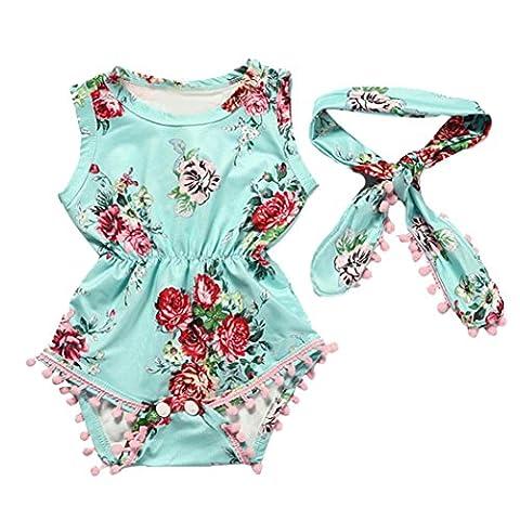 AMUSTER.DAN Baby Mädchen Blumen Drucken Romper Kopfschmuck Set Overall Kleider Set (90, Grün)