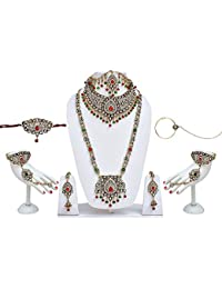 Lucky Jewellery For Bride Bridal Kundan & CZ Stone With Maroon Green Crystal Wedding Jewellery Set 8 Pcs.