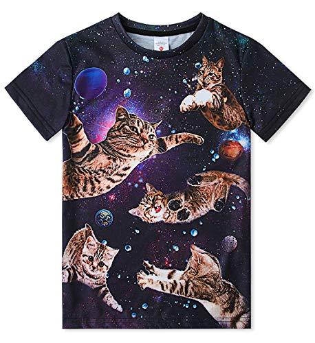 Idgreatim Teen Jungen Mädchen Kurzhülse Sommer T-Shirts Coole Galaxy Katze 3D Grafik T-Shirt Größe 10 -