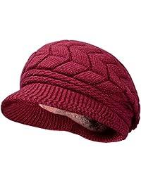 Kuyou Bonnet Fourré Tricoté Femme Chaud Béret Hiver Chapeau
