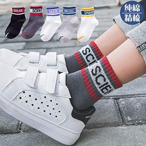 n Jungen Socken Medium Tube Socken Englisch Alphabet Student Sports Socken Kinder5 Doppel, 1-3 Jahre alt Babys Füße 10-13Cm ()