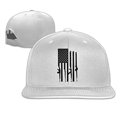 American Gun Flag Unisex Causal Fitted Flat Bill Boarder Cap For Men and Women White (American Fitted T-shirt Flag)