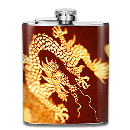 Miedhki Yellow East Dragon Fashion Portable 304 Stainless Steel Leak-Proof Alcohol Whiskey Liquor Wine 7OZ Pot Hip Flask Travel Camping Flagon for Man Woman Flask Great Little Gift -