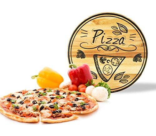 sendez Assiette à Pizza avec motif à pizza en bois Ø30 cm rotatif bois Assiette Plateau Tournant Assiette Assiette à fromage en bois d'acacia