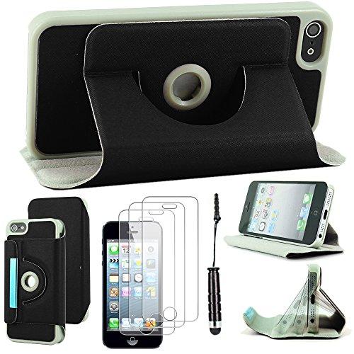 ebestStar - pour Apple iPhone SE 5S 5 - Housse Coque Etui PU cuir Support rotatif 360° + Mini Stylet tactile + 3 Films protection écran, Couleur Noir [Dimensions PRECISES de votre appareil : 123.8 x 5 Noir