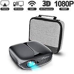 Mini Vidéoprojecteur, ELEPHAS 3D Projecteur 2800 Lumens WiFi DLP Projecteur Portable pour iPhone Android Smartphone Soutien HDMI/USB, idéal pour cinéma Maison intérieur, Noir.