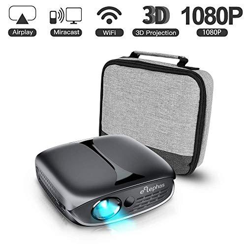 Mini Vidéoprojecteur, ELEPHAS 3D Projecteur 2200 Lumens WiFi DLP Projecteur Portable pour iPhone Android Smartphone Soutien HDMI USB Youtube Koala, idéal pour cinéma Maison intérieur, Noir.