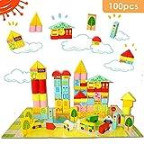 Onshine 100 Pezzi in Legno Mattoncini per Costruzioni Blocchi Giocattolo Educativi per Bambini