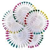 Ruiyele 150Stück mehrfarbige Stecknadeln, mit bunten Perlenköpfen in einem Kunststoff-Rad, zum Schneidern, Nähen von Kleidern, Dekorationen