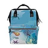 COOSUN Seascape Schildkröte Nappy Wickeltasche Windel Rucksack mit Insulated Taschen Stroller Straps, große Kapazitäts-Multi-Funktions-stilvolle Windel-Tasche für Mama Dad Außen Groß mehrfarbig
