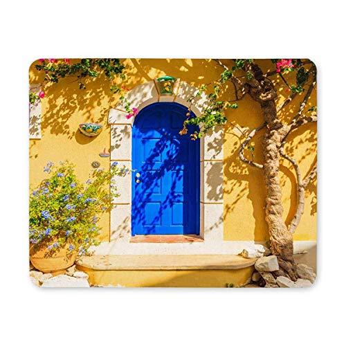 Tür-blumen-fall (Luancrop Sommer-Blaue Tür des gelben griechischen Hauses mit Blumen-Rechteck-rutschfestem GummiMousepad Mausunterlagen/Mäusematten-Fall-Abdeckung für Büro-Ausgangsfrau-Mann-Angestellt-Chef-Arbeit)